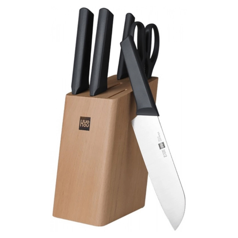 Набор ножей с подставкой Huo Hou Youth Edition Kitchen Stainless Steel Knife Set 6 в 1
